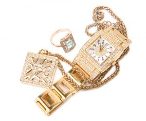 Jewelry Set. Gold Watch, Diamonds